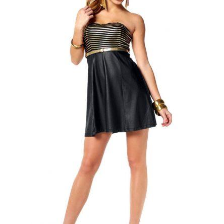 Bandeau-Mini-Kleid mit Gürtel, schwarz-gold, Melrose